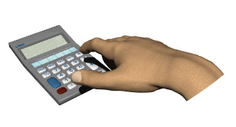 calculator hand typing equation hr