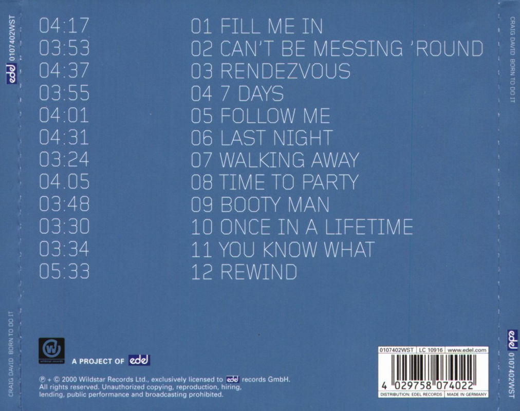 Craig David - Born To Do It (Back)